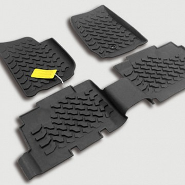 Image of a Jeep Wrangler Interior 4 door New Style Black Rubber Floor Mat Front and rear