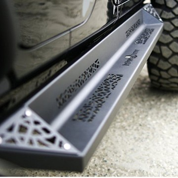 Image of a Jeep Wrangler Body Armor Topfire Blade Style Rock Sliders for 4-Door Jeep JKU (Set)