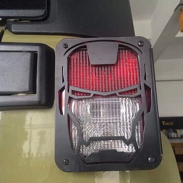 Image of a Jeep Wrangler Lights And Mirrors Pair Iron Man Style Tail Light Cover Light Guard