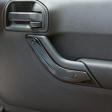 Image of a Jeep Wrangler  4 Door Black Inner Door Handle Trim Cover Interior