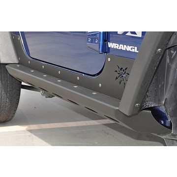 Image of a Jeep Wrangler  Poison Spyder Brawler Style Rock Slider for 2-Door Jeep Wrangler JK Black-satin (Set)