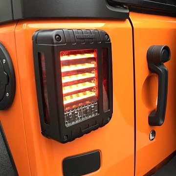 Image of a Jeep Wrangler Lights And Mirrors  Pair LED Tail Lights J.W. Speaker 279 J Style Rear Turning Break Light 0119