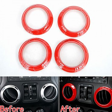 Image of a Jeep Wrangler Interior A.C outlet Decoration Circle red