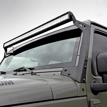 "Image of a Jeep Wrangler Brackets 50"" LED Light Bar Upper Windshield Mounting Bracket"
