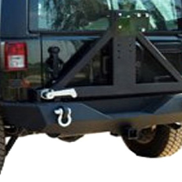 Image of a Jeep Wrangler Rear Bar Jeep Wrangler  JK Rock Crawler Rear Bumper with Tire Carrier With D-Ring