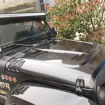 Image of a Jeep Wrangler Bonnets Rugged Ridge Style Performance Vented Hood (steel)
