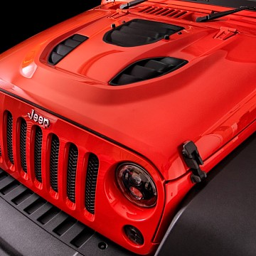 Image of a Jeep Wrangler  Trailcat Style High Flow Steel Bonnet with Three Vents