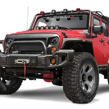 Image of a Jeep Wrangler Front Bumpers Rugged Ridge Spartacus Style Style Steel Front Winch Bull Bar