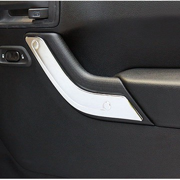 Image of a Jeep Wrangler  4 Door Silver Inner Door Handle Trim Cover Interior