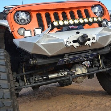 Image of a Jeep Wrangler  Topfire Fury Style Front Bumper Material: Steel (Black Powder Coating)