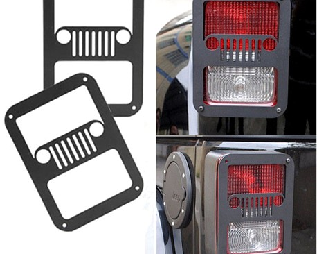 Picture of a Pair Jeep Grille Style Flat Tail Light Cover Light Guard