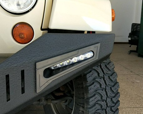 Picture of a JK Warehouse Custom design front bull bar with LED Lights ON SPECIAL