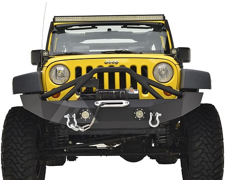 Picture of a JW0316 Poison Spyder Style Steel Front Bumper with Winch Cradle and D-Ring & LED Lights