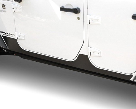 Picture of a Rocker Guards for 4-Door Jeep Wrangler JKU Black-Satin (Set)