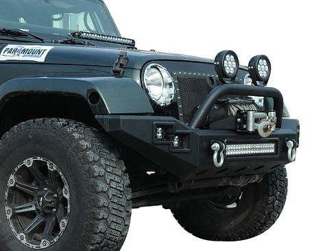 Picture of a JW0303 Steel Front Bumper with Winch Cradle & LED Light Bar & Fog Lights