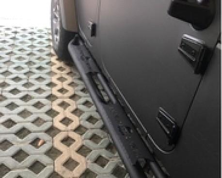 Picture of a Topfire Style Steel Rock Sliders Black-satin for 4-Door Jeep JKU (Set)