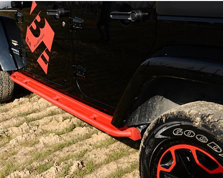 Picture of a 10th Anniversary Style Rock Sliders for 4-Door Jeep JK Black-satin (Set)
