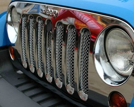 Picture of a  3D Chrome Grill Mesh Insert With Lock Hole Fit OEM Grille