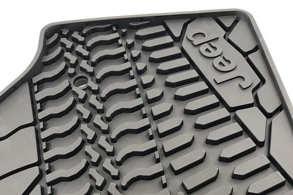 Picture of a Jeep Wrangler JK Floor Mats (Jeep Logo Design) for 4-Door Wrangler