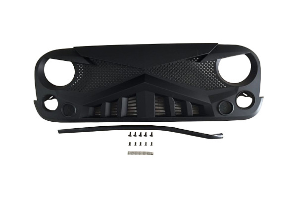 Picture of a  Jeep Wrangler JK ABS Knight Style High Flow Front Grill Grille matte black
