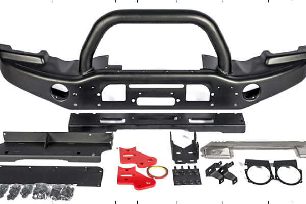 Picture of a AEV Style Front Bumper with Winch Cradle, Bullbar, Tow Rings 0148