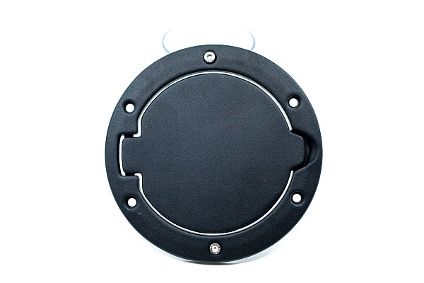 Picture of a Black Fuel Cap Door Cover Without Jeep Logo