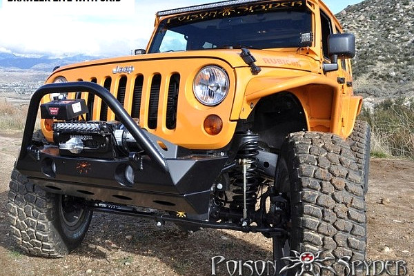 Picture of a Jeep Wrangler JK  Poison Spyder Style Steel Front Winch Bull Bar