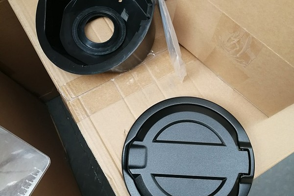 Picture of a Jeep Wrangler 2019~ JL Black Fuel Cap Door Cover