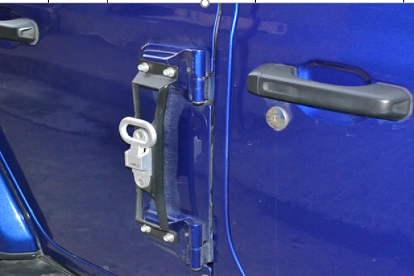 Picture of a Jeep Wrangler 2019~ JL Heavy Duty Door Hinge Side Foot Step Steel (Matte Black) Price for EACH
