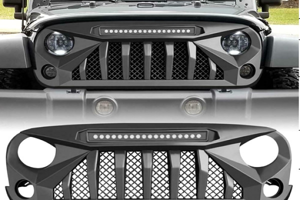 Picture of a Jeep Wrangler JK Grill with Mesh and led light bar