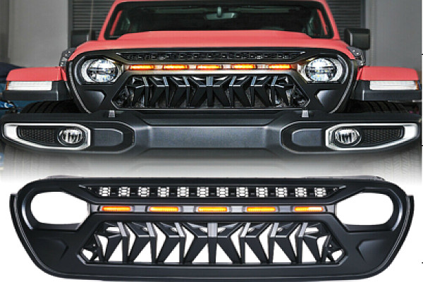 Picture of a Jeep Wrangler JL  Angry Grille with 5 amber led lights 0007