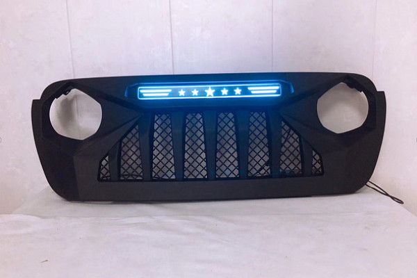 Picture of a Jeep Wrangler JL  grill with blue led 004B