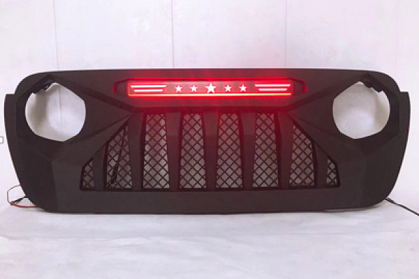 Picture of a Jeep  Wrangler  JL  grill with red led 004R