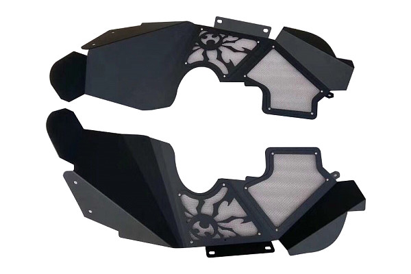 Picture of a JL Poison Spyder Style Vented Front Inner  Front Fender Flares