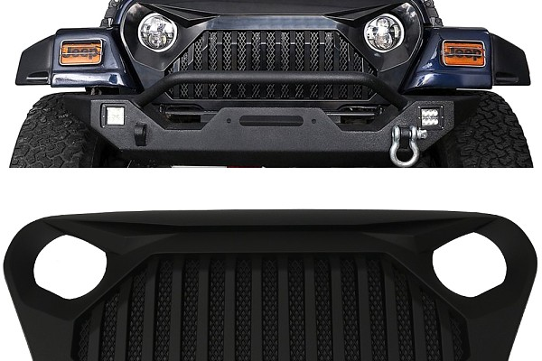 Picture of a TJ TF Style Front Grill Grille matte black