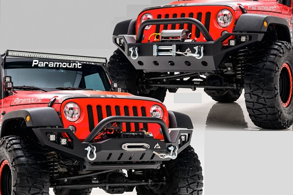 Picture of a JW0308 Style Steel Front Winch Bull Bar with LED lights