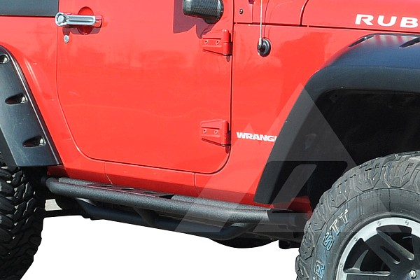 Picture of a Smittybilt Style Rock Sliders for 2-Door Jeep Wrangler JK Black-satin (Set)