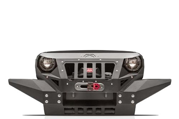 Picture of a Fab Fours Grumper Style Steel Full width Front Bull Bar with Grill