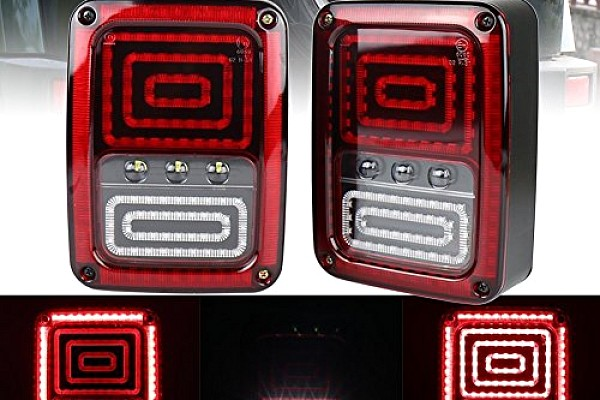 Picture of a Jeep Wrangler LED Tail Lights with Animated Turning Lights 0120 (Pair)