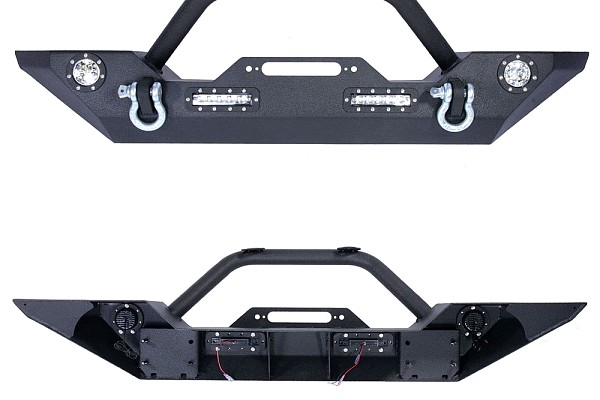 Picture of a JW0245 Style Steel Front Winch Bull Bar with LED lights
