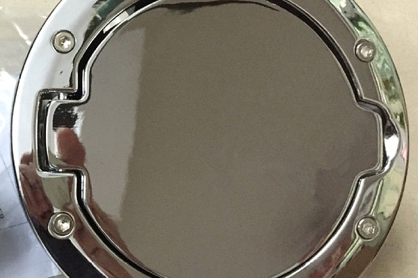 Picture of a Chrome Aluminium Alloy Fuel Cap Door Cover With Jeep Logo