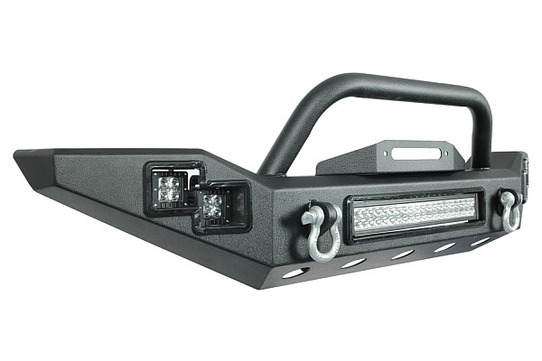 Picture of a Steel Front Bumper with Winch Cradle & LED Light Bar & Fog Lights 1602