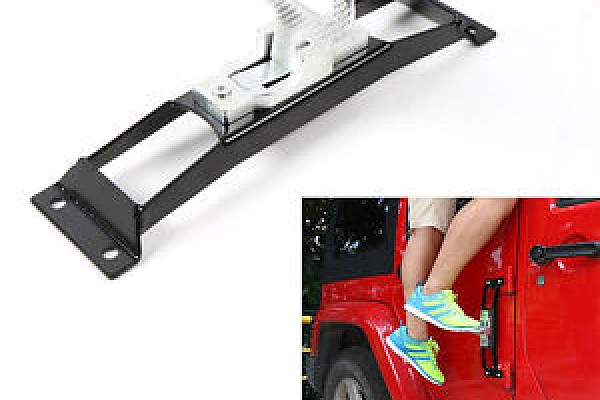 Picture of a Door Hinge Side Foot Pedal Step Steel (Black/Chrome)