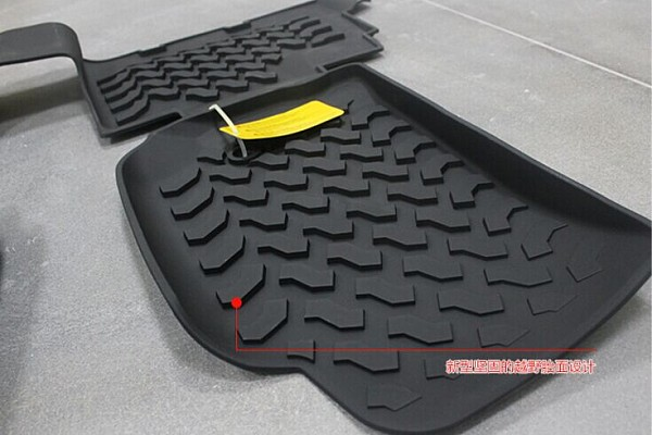 Picture of a Jeep Wrangler JK Floor Mats (Deep Dish Design) for 4-Door Wrangler