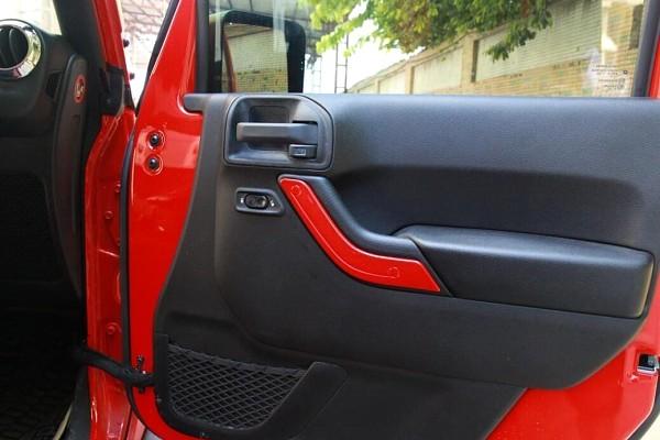 Picture of a 4 Door Red Inner Door Handle Trim Cover Interior