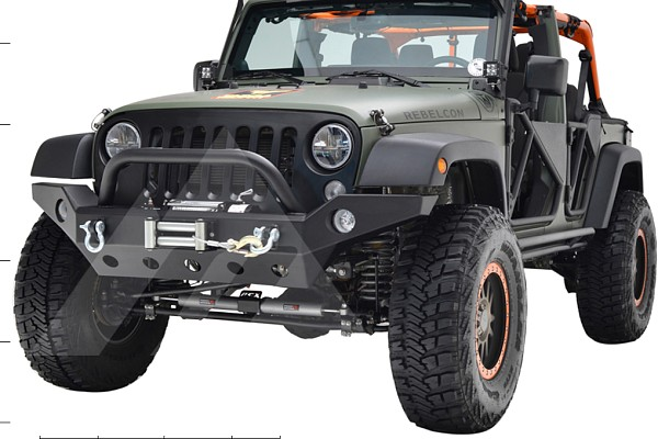 Picture of a Jeep Wrangler JK   Barricade Trailforce Style Steel Front Winch Full wiidth Bull Bar 0342