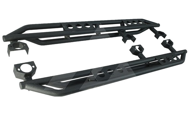 Picture of a Smittybilt Style Rock Sliders for 4-Door Jeep Wrangler JKU Black-satin (Set)