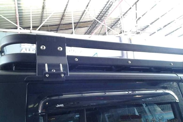 Picture of a Light-weight Aluminium Roof Rack Gutter-mounted for Jeep Wrangler JK (2 Door)