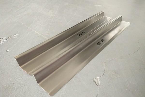 Picture of a 2 door type Stainless Steel door sill plate door add on (No Jeep Logo)