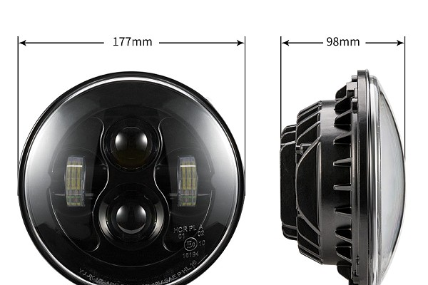 Picture of a Jeep Wrangler 7 Inch Black LED Headlights with Daytime Running Lights Pair (0492 Style)
